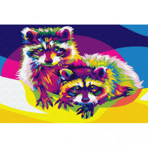 Цветные еноты Раскраска картина по номерам на холсте