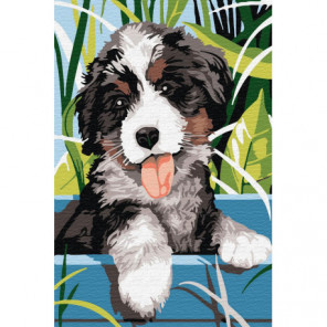 Весёлый щенок Раскраска картина по номерам на холсте