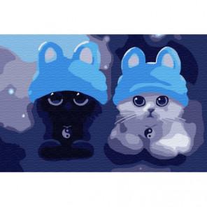 Котята в шапочках Раскраска картина по номерам на холсте