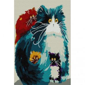 Пять оттенков кошек Раскраска картина по номерам на холсте