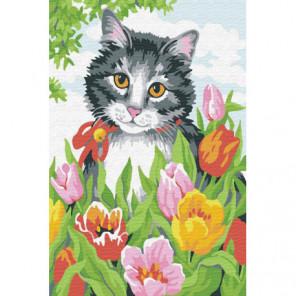 Кот в тюльпанах Раскраска картина по номерам на холсте