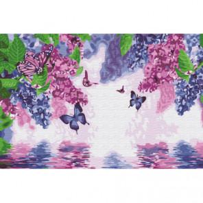 Бабочки в сирени Раскраска картина по номерам на холсте