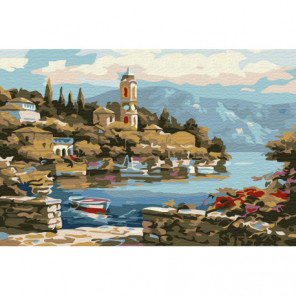 Часовня у моря Раскраска картина по номерам на холсте