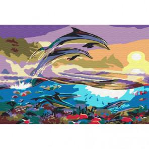 Дельфины Раскраска картина по номерам на холсте