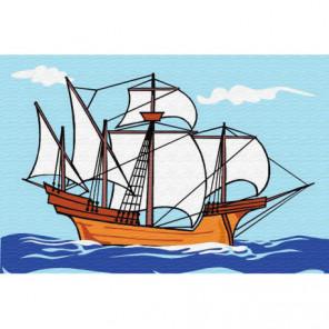Нарисованный корабль Раскраска картина по номерам на холсте
