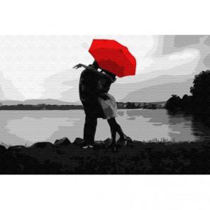 Под красным зонтом Раскраска картина по номерам на холсте