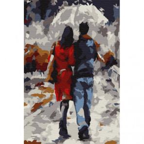 Прогулка под дождём Раскраска картина по номерам на холсте