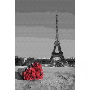 Алые розы в Париже Раскраска картина по номерам на холсте