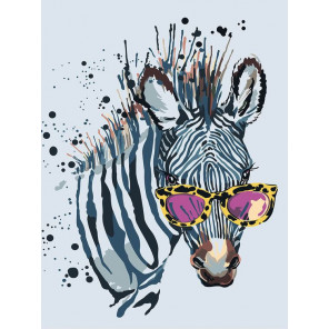 Зебра в очках Раскраска картина по номерам на холсте ME1114