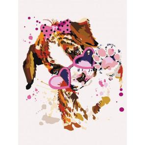 Щенок в розовых очках Раскраска картина по номерам на холсте ME1117