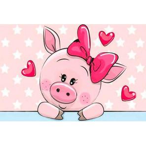 Влюбленная свинка Алмазная мозаика на подрамнике LC007