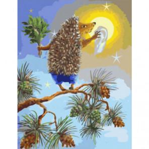 Зимнее солнце и ежик Раскраска картина по номерам на холсте