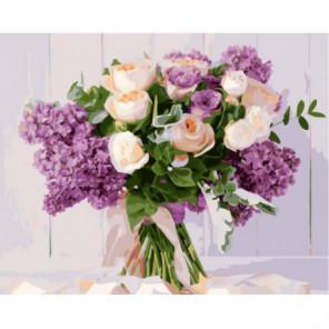 Розы и сирень Раскраска картина по номерам на холсте