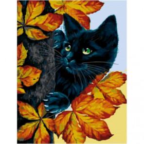 Кот на дереве Раскраска картина по номерам на холсте