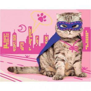 Супер-кот Раскраска картина по номерам на холсте