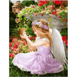 Ангелочек с крохотным котенком Раскраска картина по номерам на холсте