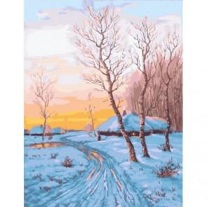 Зимняя дорога Раскраска картина по номерам на холсте