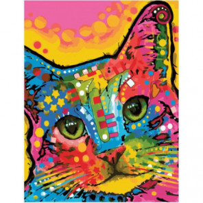 Разноцветный кот Раскраска картина по номерам на холсте