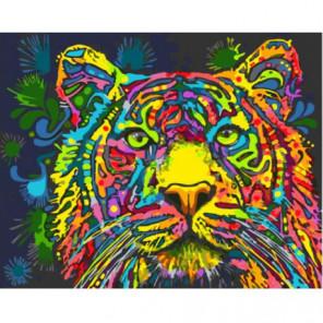 Разноцветный тигр Раскраска картина по номерам на холсте