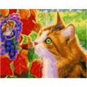 Кот и мышонок на винограде Раскраска картина по номерам на холсте