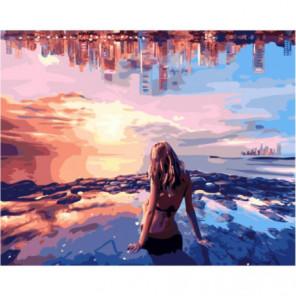 Вечерний пляж Раскраска картина по номерам на холсте