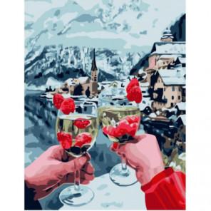 Лепестки и шампанское в горах Раскраска картина по номерам на холсте