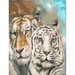Тигры Раскраска картина по номерам на холсте
