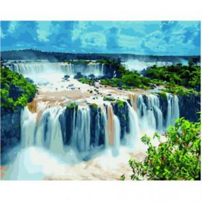 Обрывистые водопады Раскраска картина по номерам на холсте