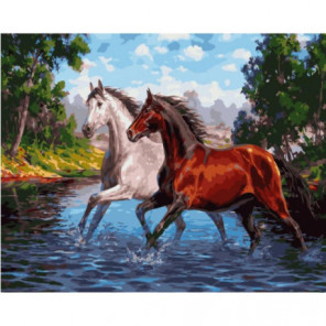 Резвые лошади Раскраска картина по номерам на холсте