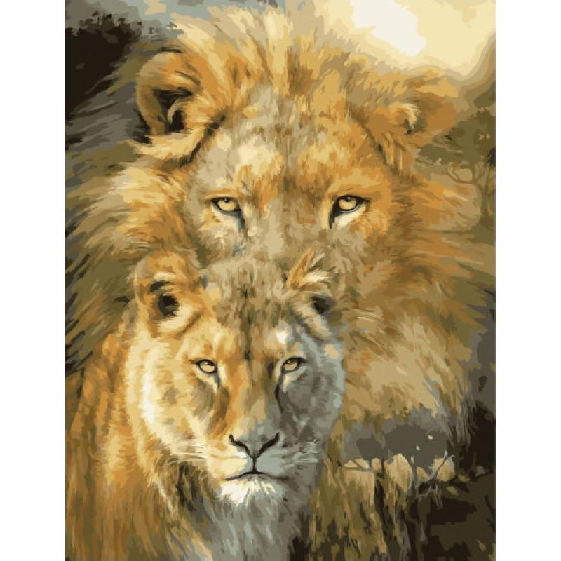 Лев и львица Раскраска картина по номерам на холсте ...