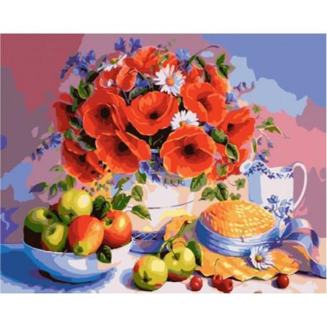Маки и яблоки Раскраска картина по номерам на холсте ...