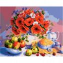 Маки и яблоки Раскраска картина по номерам на холсте