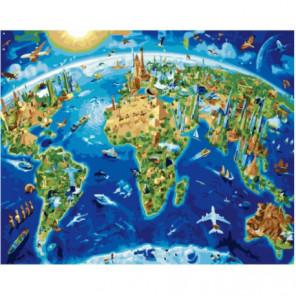 Карта мира Раскраска картина по номерам на холсте