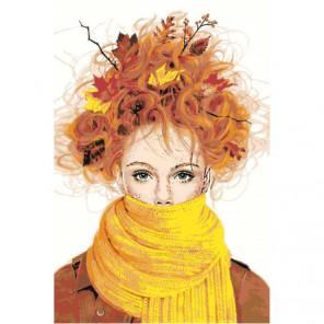 Осенняя девушка 80х120 Раскраска картина по номерам на холсте