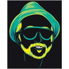 Неоновый мужчина в очках Раскраска картина по номерам на холсте