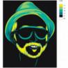 Неоновый мужчина в очках 80х100 Раскраска картина по номерам на холсте