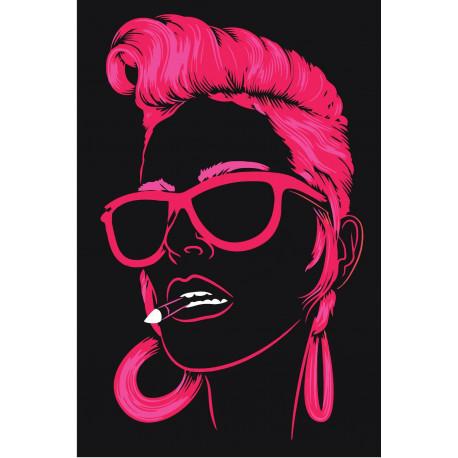 Неоновая девушка в очках Раскраска картина по номерам на ...
