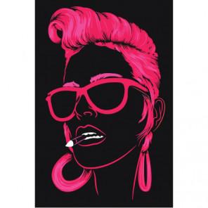 Неоновая девушка в очках 80х120 Раскраска картина по номерам на холсте