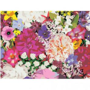 Пестрый букет цветов 75х100 Раскраска картина по номерам на холсте