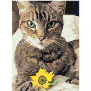 Кошка с цветком 75х100 Раскраска картина по номерам на холсте