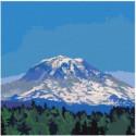 Заснеженная гора 80х80 Раскраска картина по номерам на холсте