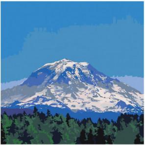 Заснеженная гора 100х100 Раскраска картина по номерам на холсте