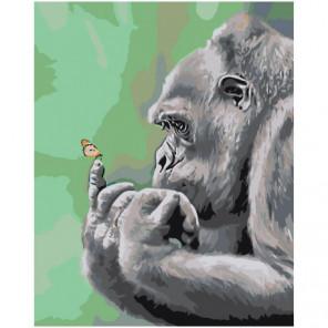 Задумчивая обезьяна с бабочкой 100х125 Раскраска картина по номерам на холсте