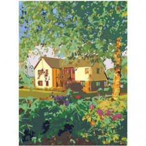 Домик в деревне 75х100 Раскраска картина по номерам на холсте