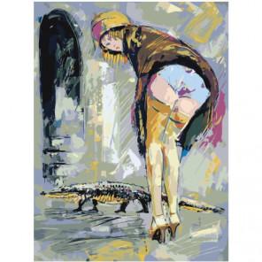 Девушка в желтой шляпке Раскраска картина по номерам на холсте