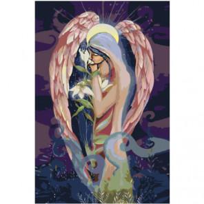 Ангел с цветком 100х150 Раскраска картина по номерам на холсте