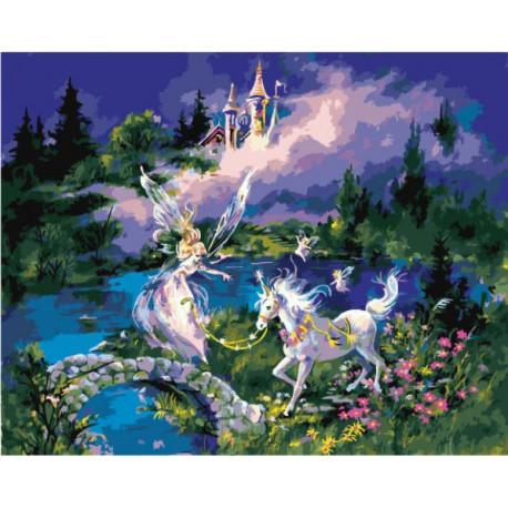 Фея и единорог Раскраска картина по номерам на холсте ...