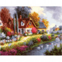 Тихий канал вдоль деревни Раскраска картина по номерам на холсте