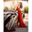 Леди у роскошного автомобиля Раскраска картина по номерам на холсте
