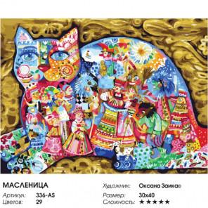 Сложность и количество цветов Масленица Раскраска картина по номерам на холсте 336-AS